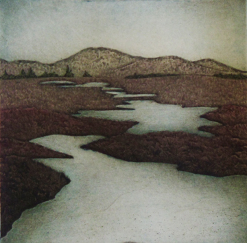"Winter Barrens,  collagraph on paper, 12"" x 11 1/4"", $200"