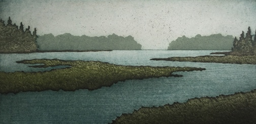 "Salt Marsh Morning,  collagraph on paper, 15 1/4"" x 20 1/2"" framed, $350"