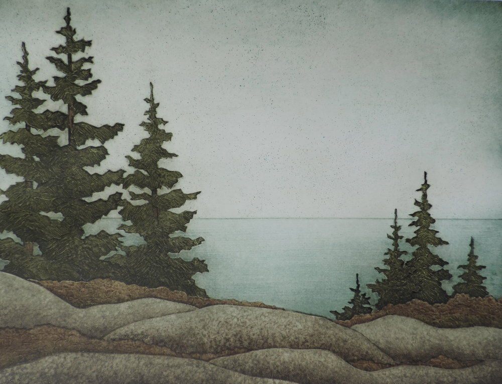 "Acadia View II,  collagraph on paper, 22"" x 27"", $900"