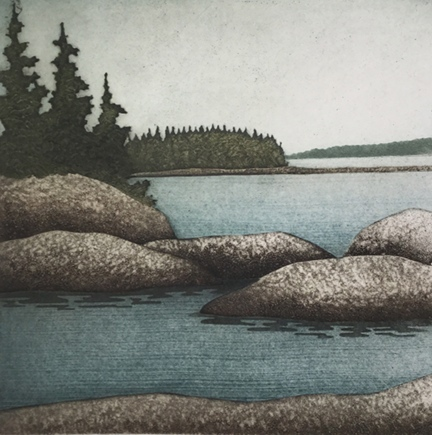 "Island Days,  collagraph on paper, 21 1/4"" x 20 1/2"" framed, $450"