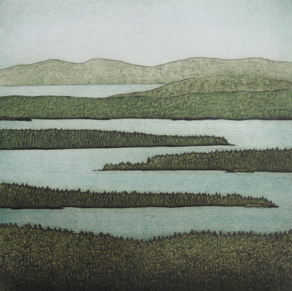 "Across the Sound,  collagraph on paper, 17"" x 15"", $325"