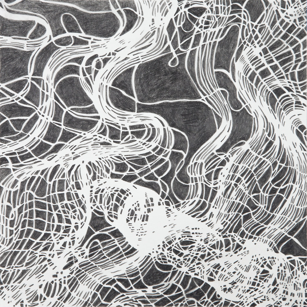 "Interwoven Study 3  , graphite on paper ,  16"" x 16"" framed, $450"