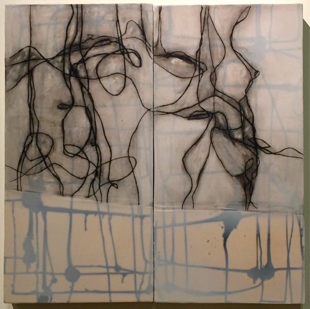 "Strong Union (diptych) , encaustic and oil on panel, 24"" x 24"" x 2"""