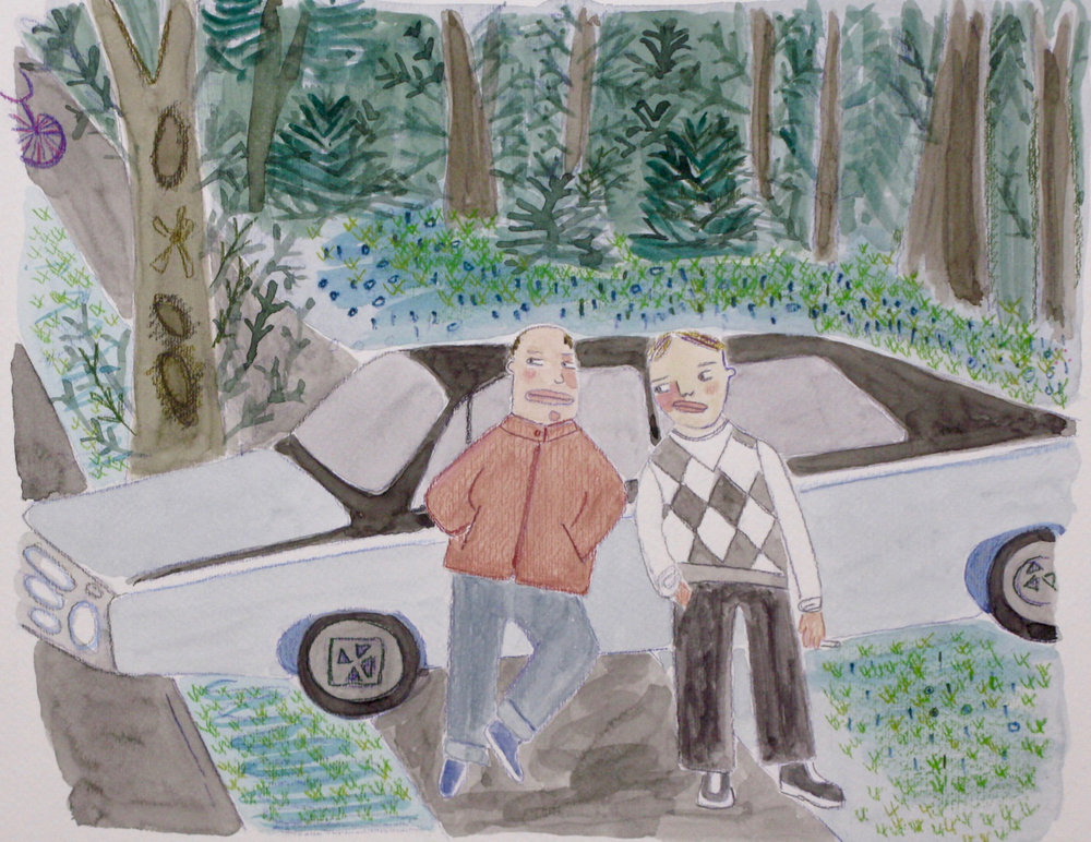 "Bad Boys , watercolor on paper, 18 1/4"" x 20 1/4"" framed, $400"
