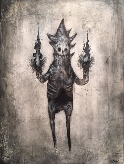 "The Great and Secret Fire within , acrylic, ink, pencil, and graphite on wood, 8"" x 6"", sold"