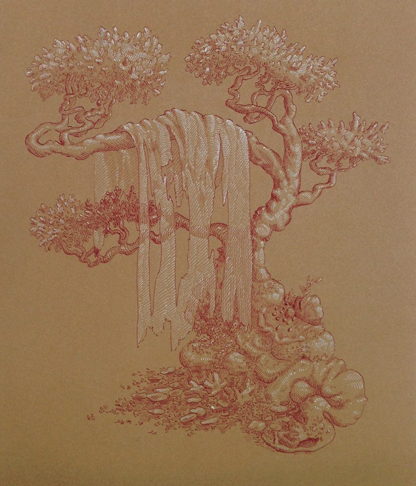 "Nicole Duennebier ,  Rococo Sheet Motif , ink on paper, 16 ¾"" x 15 ¾"" framed, sold"