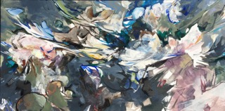 "Jeffrey Fitzgerald,  Collide , acrylic and charcoal on canvas, 15"" x 30"", $1,500"
