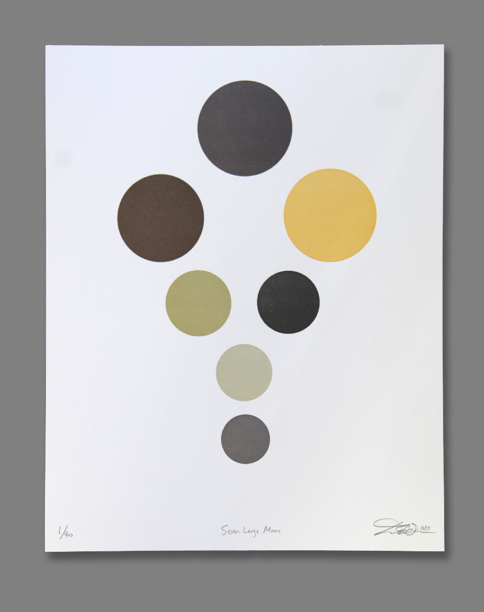"Ted Ollier ,  Seven Large Moons (6/40) , seven- color letterpress on paper, 18"" x 15"" framed, $400"