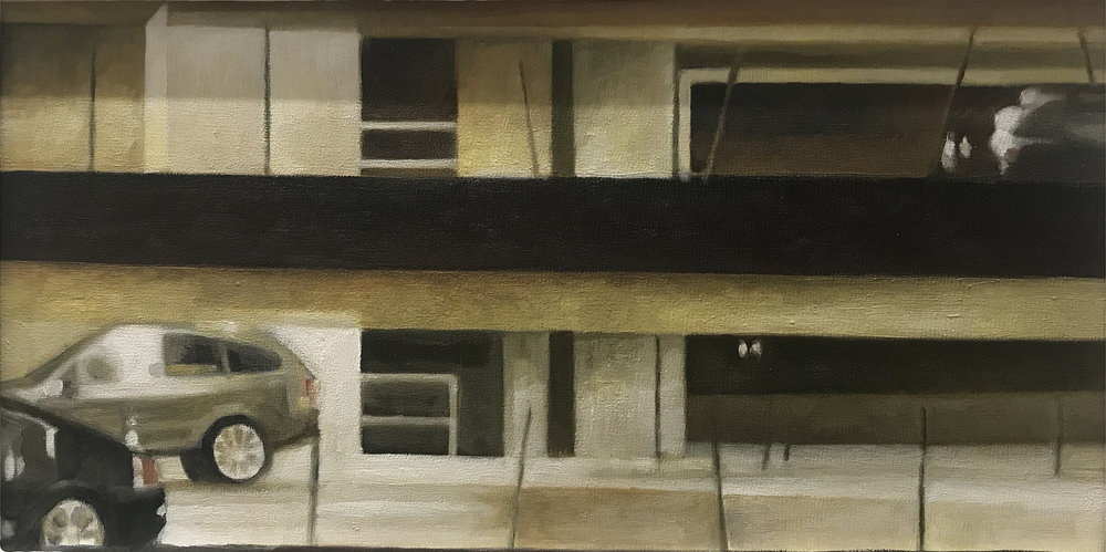 "David Palmquist ,  Des Moines Parking Garage , oil on panel, 11 ¼"" x 17 ¼"" framed, $650"