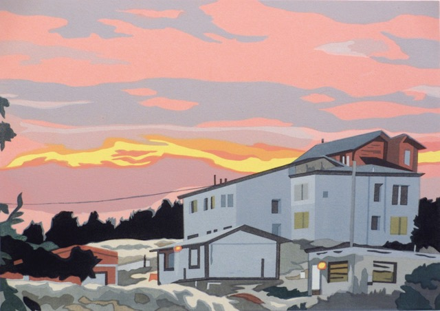 "Anne Silber ,  Patagonian Sunrise (5/50) , serigraph on paper, 19"" x 22 ¾"" framed, $500"