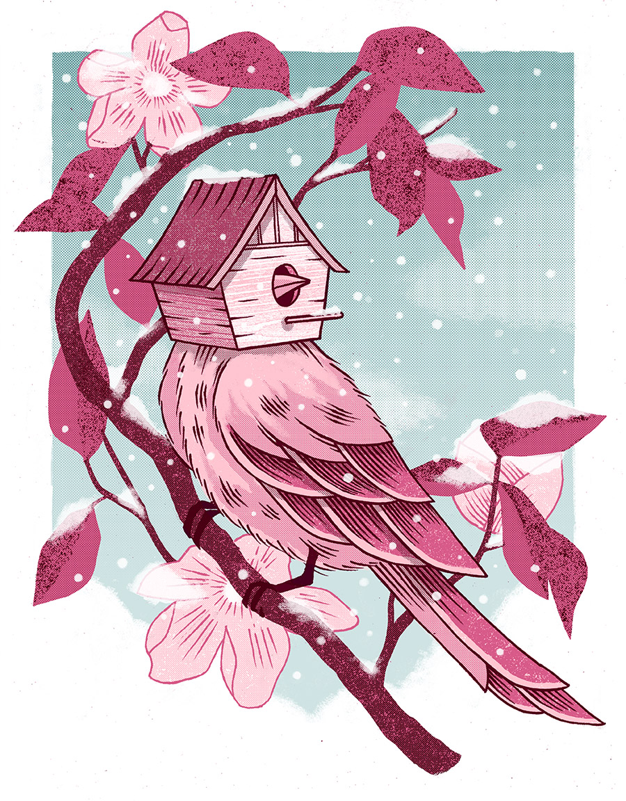 "Birdhouse , silkscreen on paper, 19"" x 16"" framed, $175, available unframed, $75"