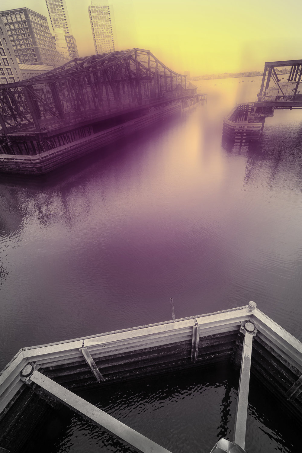 "Bridge with Cobalt Violet and Cadmium Yellow, 9:44 am , digital photograph on plexiglass, 24"" x 16"", $900"