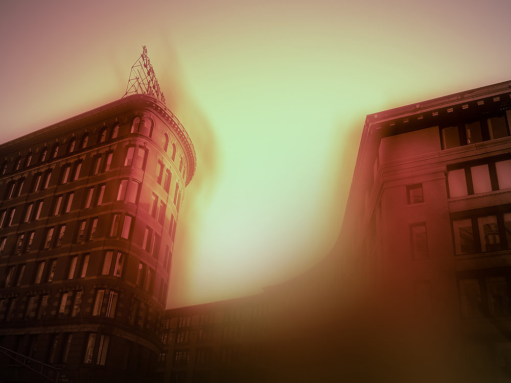 "Melcher Street with Nickel Yellow and Rose Madder, 6:07 pm , digital photograph on plexiglass, 16"" x 21"", $800"