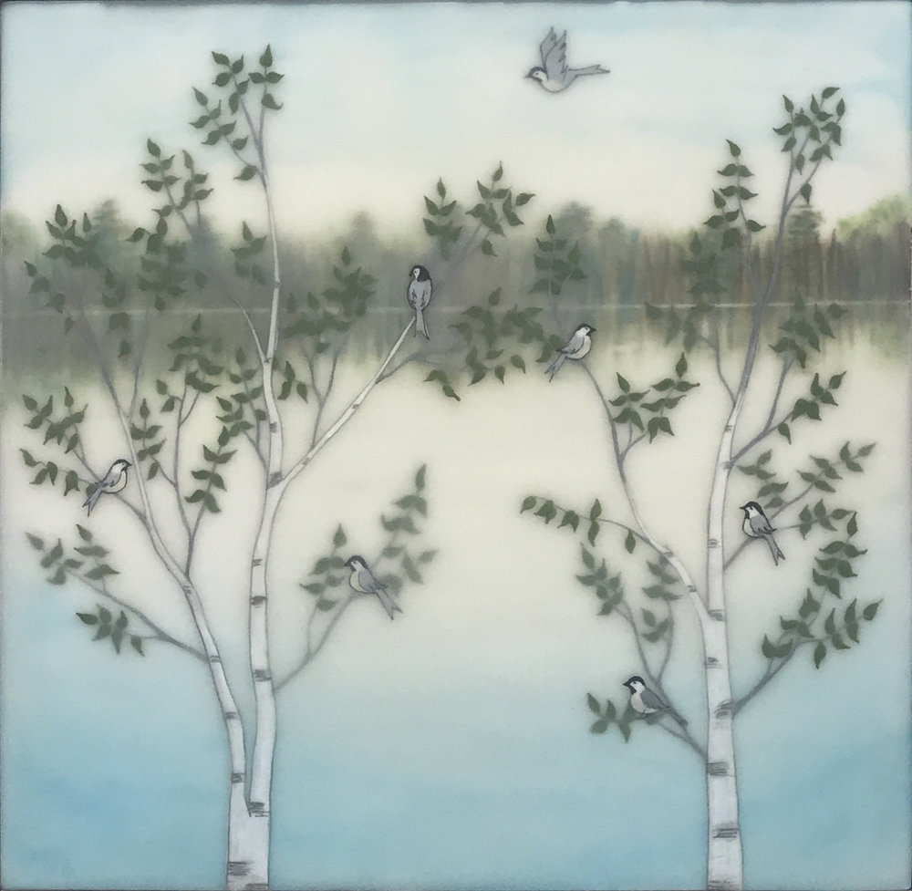"Lakeside Chickadees , encaustic, gouache, rice paper, pastel, mounted on birch panel, reclaimed beach fence frame, 10 ½"" x 10 ½"", sold"