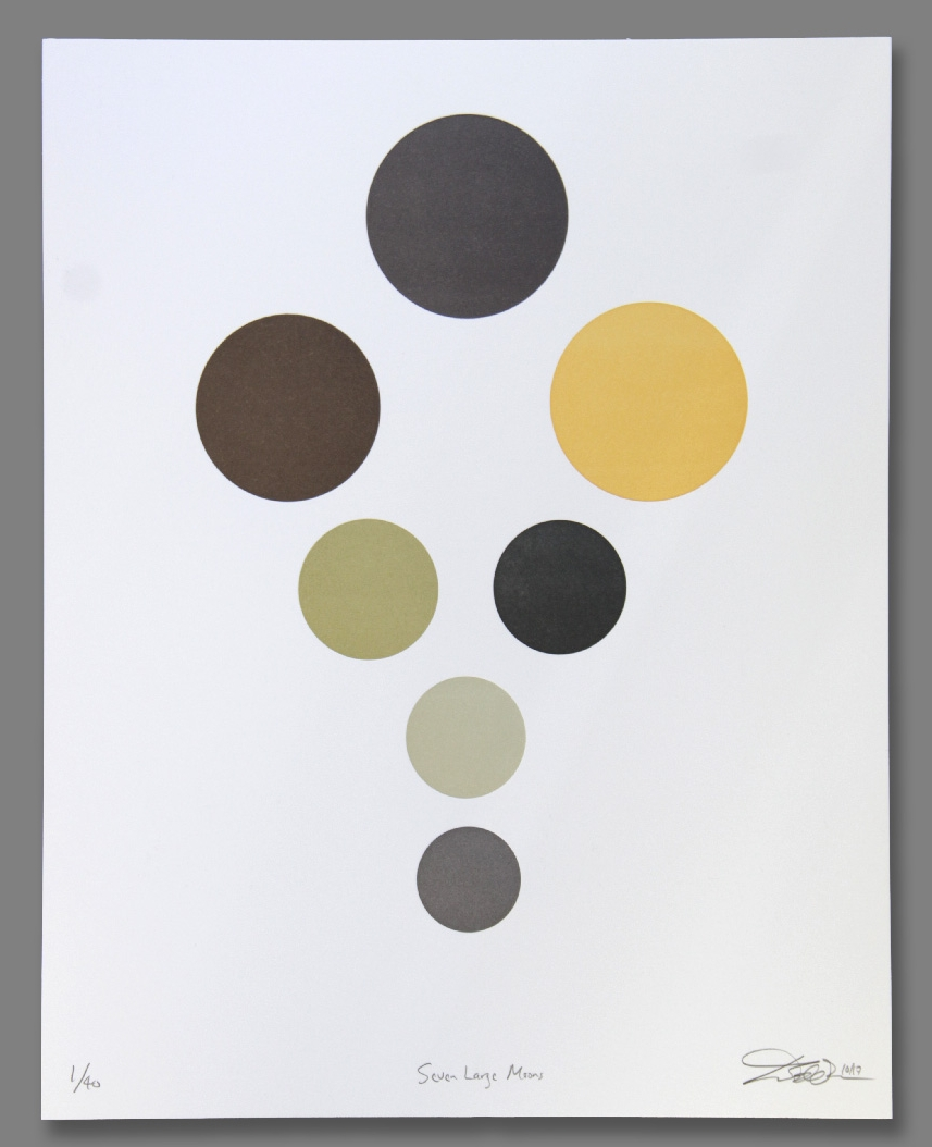 "Seven Large Moons , seven-color letterpress on paper, 18"" x 15"" framed, $400"