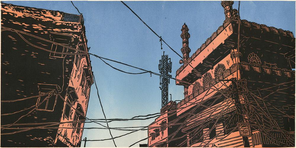 """Jaipur Sky V2 (2/5) , woodcut print on paper, 20 1/2"""" x 32"""" framed, $1,000"""