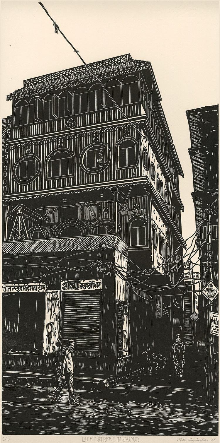 "Quiet Street in Jaipur , woodcut print on paper, 24"" x 12"""
