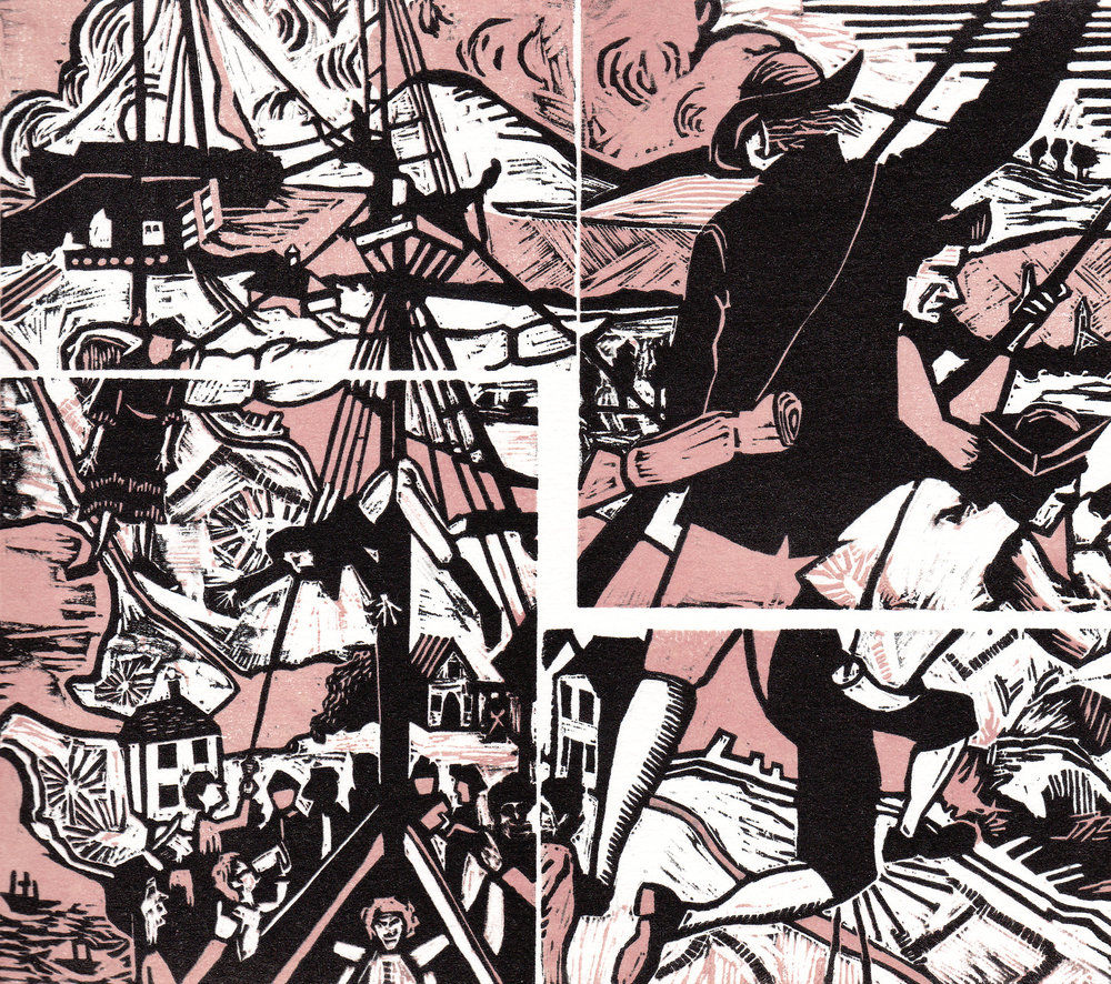 "American Rebels (Pink) , woodcut print, 10 3/4"" x 10 3/4"" framed, $375"