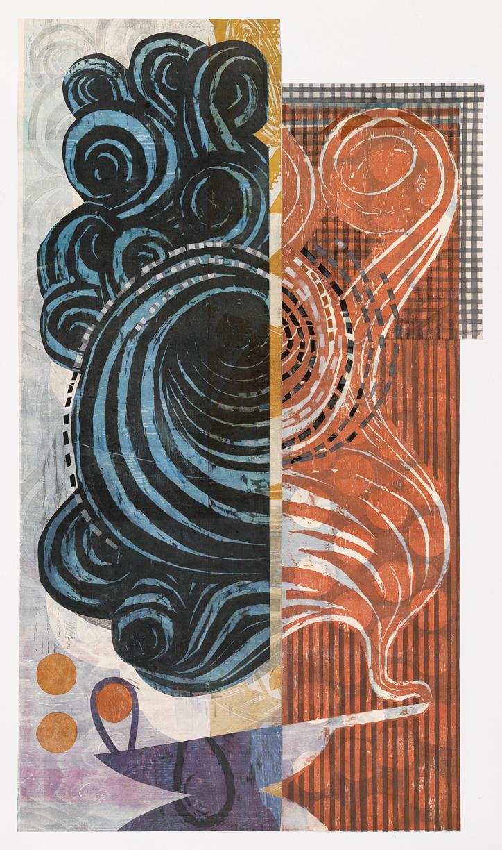 "Yellow Stripe Aladdin , collaged woodcut and linocut print, 49"" x 32"" framed, $2,600"