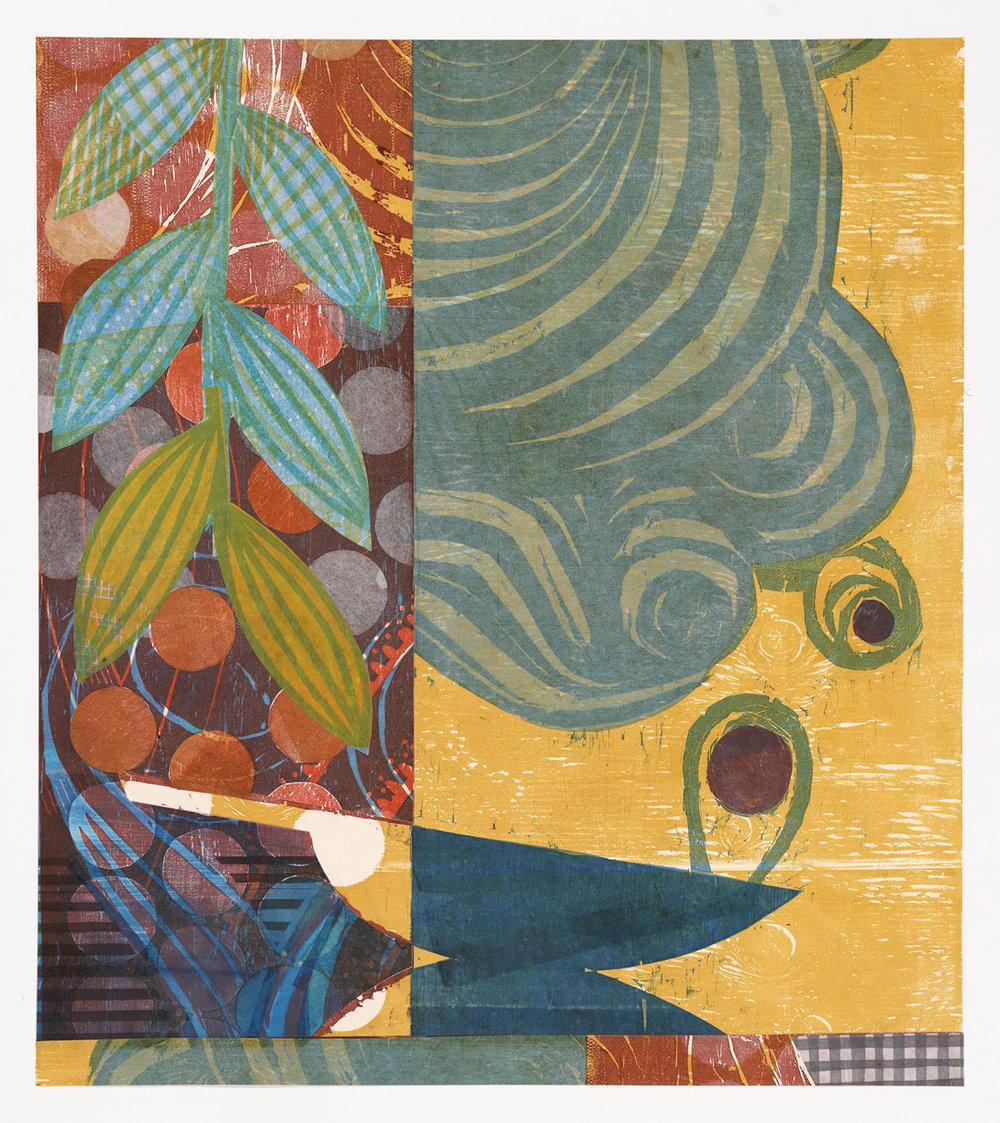 "Julia Talcott , Autumn Aladdin , collaged woodcut and linocut print, 34"" x 30 1/2"" framed, $1,800"