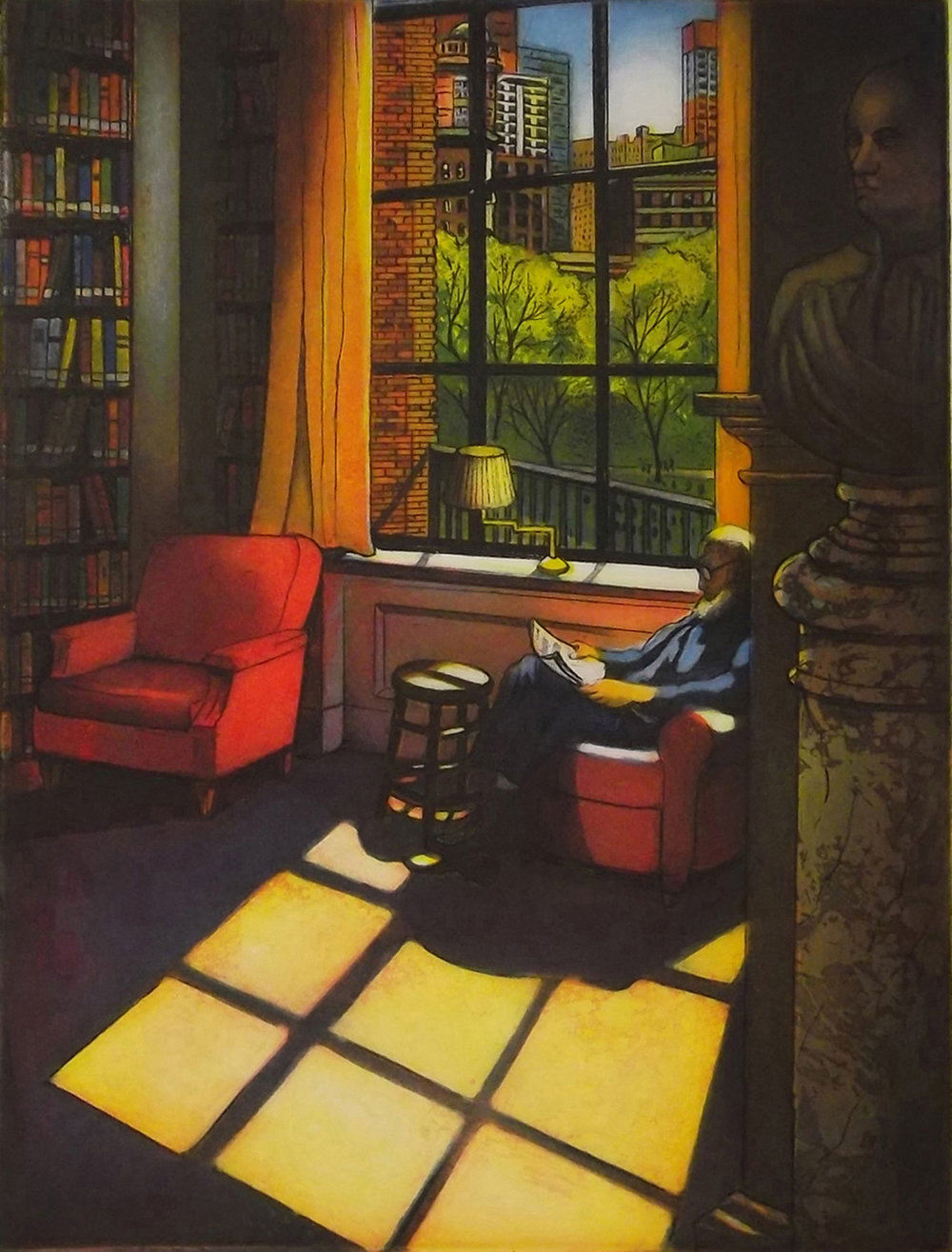 "Mary Teichman ,  Light Reading II (Boston Athenaeum) , multi-plate color etching, 21"" x 10"" framed, $625"