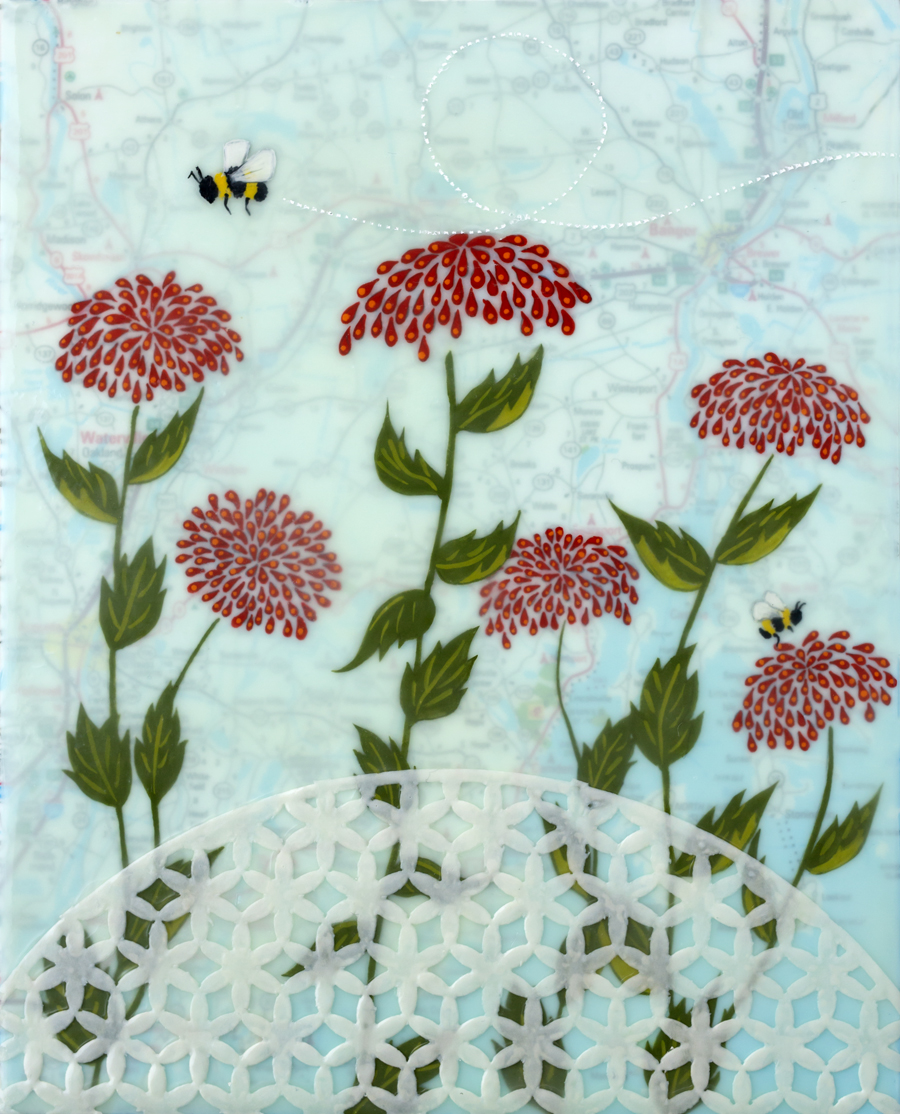 """For the Bees ,encaustic, gouache, rice paper, over map of Maine, mounted on birch panel, reclaimed beach fence frame, 8 ½"""" x 10 ½"""", $300"""