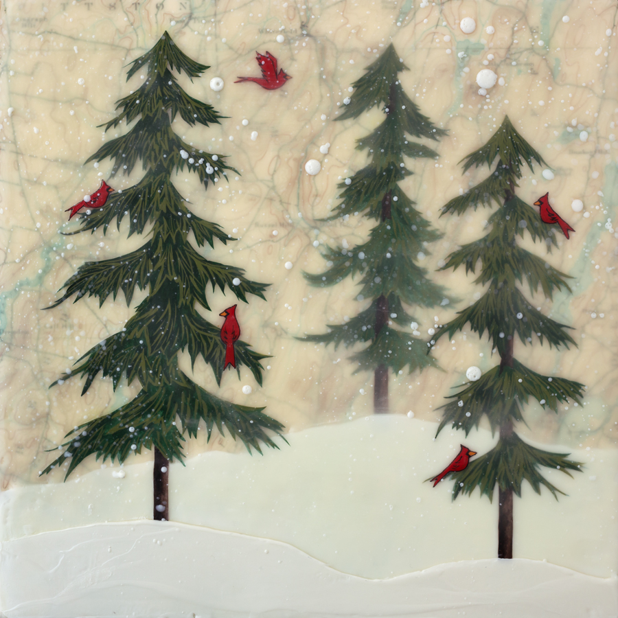 "Midwinter Maine , encaustic, gouache, paper, over map of Maine, mounted on birch panel, reclaimed beach fence frame, 10 ½"" x 10 ½"", sold"