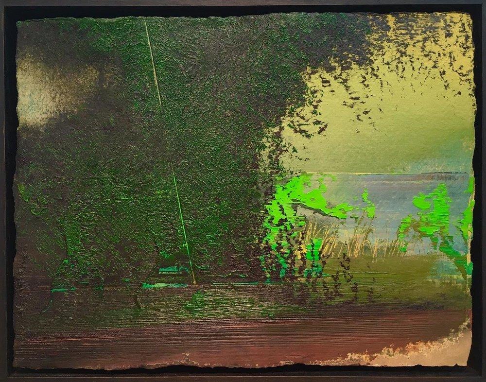 """Untitled Landscape (M1-15) , oil on paper, 9 1/2"""" x 12 1/2"""" framed, $1,100"""