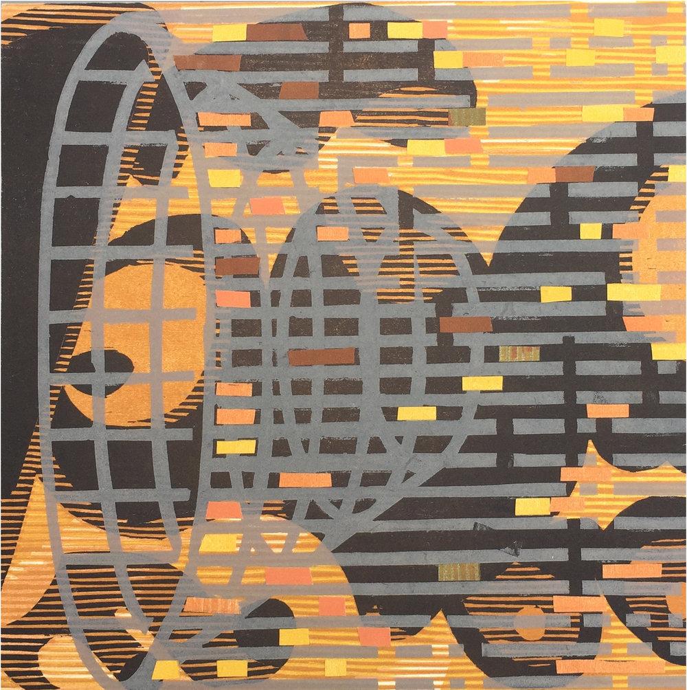 "Underwater Trap Orange , collaged woodcut and linocut print, 12"" x 12"", $850"