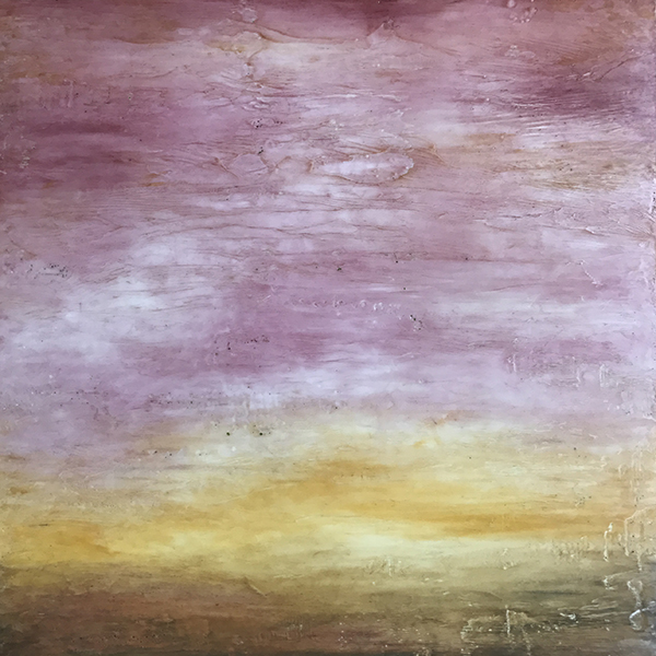 "Rose Sky , encaustic and oil on panel, 25"" x 25"" framed"