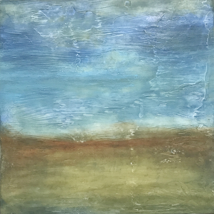 "Linda Cordner ,  Goldenrod , encaustic and oil on panel, 13"" x 13"" framed, $550"