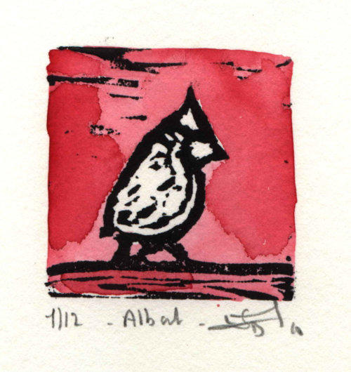 "Albert,  linocut and watercolor, 6¼"" x 6¼"" framed, $80"