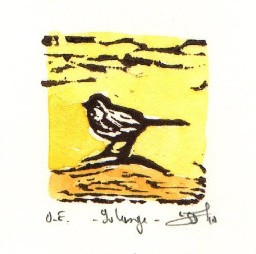 "Solange,  linocut, watercolor, 6¼"" x 6¼"" framed,  $80"