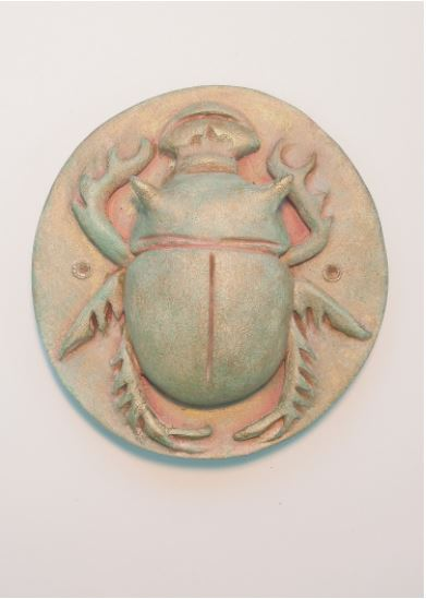 "Scarab #5 , porcelain with acrylic and wax, 3 1/2"" x 3 3/4"" x 1"", $65"