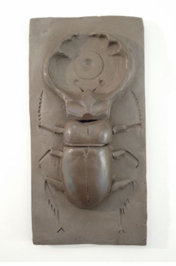 "Stag Beetle , terra cotta, 7"" x 3 1/2"", $85"