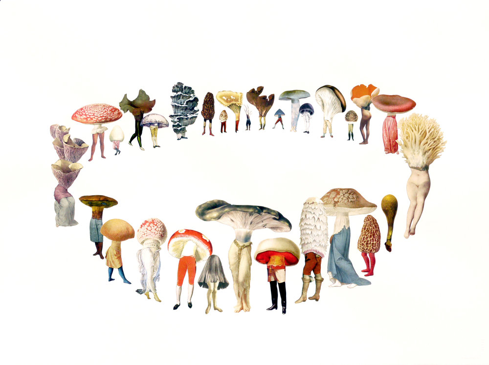 "Amy Ross ,  Hamptons Fairy RIng , collage on paper, 26"" x 33"" framed, $1,800"