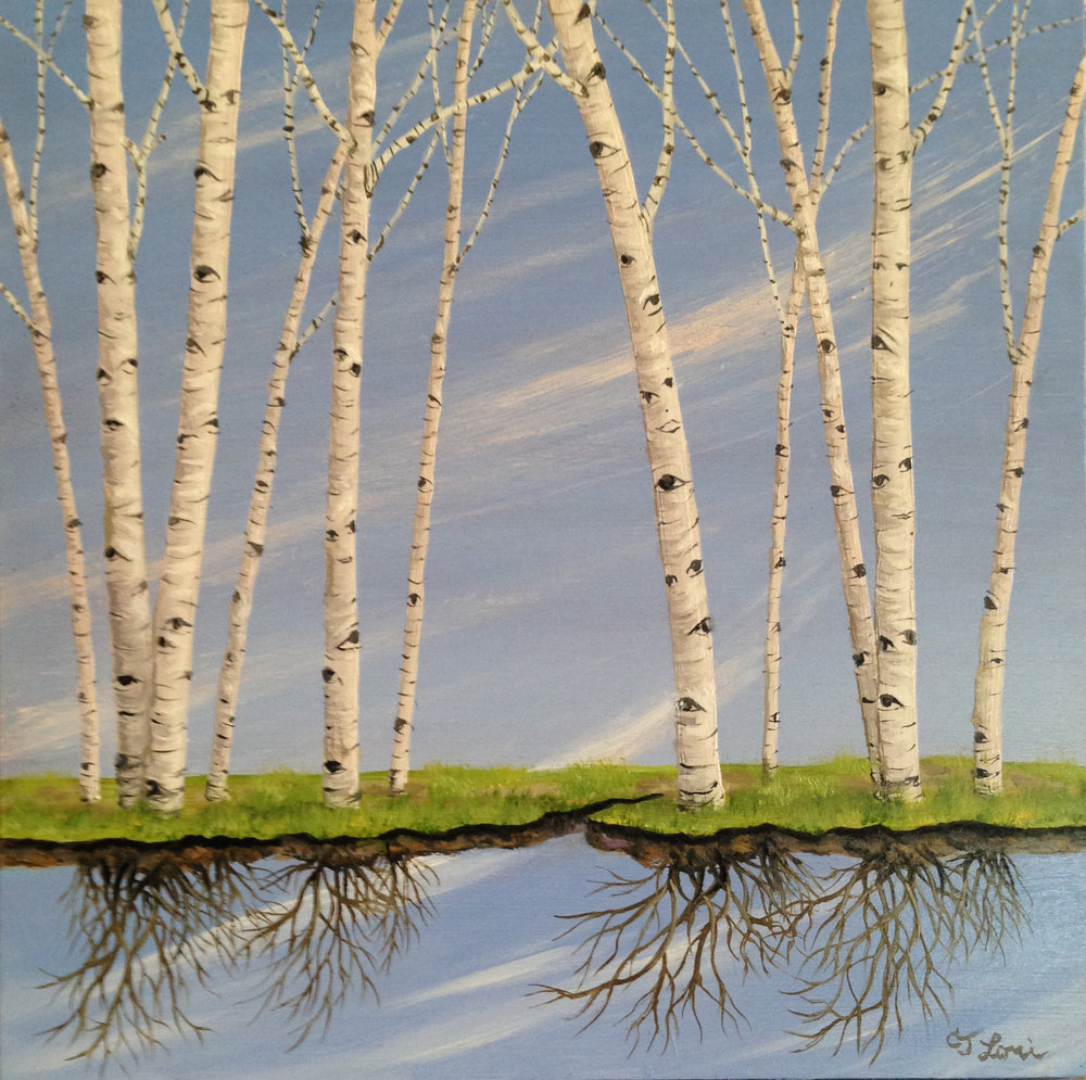 "Birch Bye , oil on panel, 8"" x 8"" x 1"", sold"