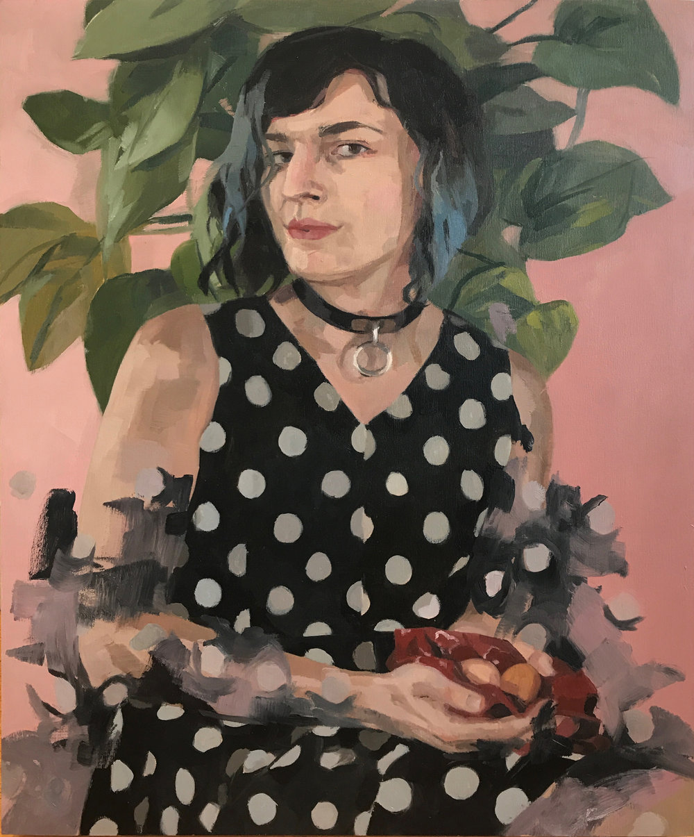 "Catherine Graffam  , Self-Portrait with Two Eggs and a Handkerchief , oil on panel, 20"" x 16"", $1,200"