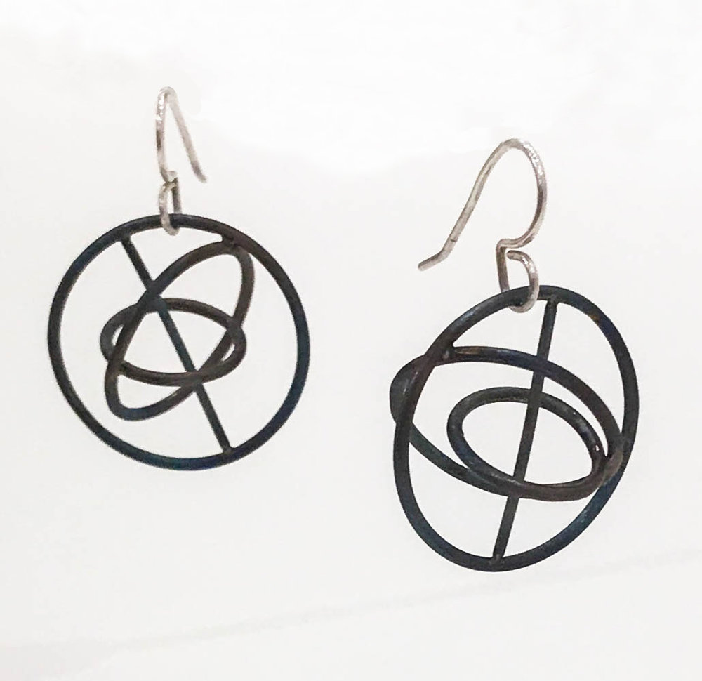 "Titanium orbit earrings with silver ear wire, 1 1/2"" x 1"" x 1"", $90"