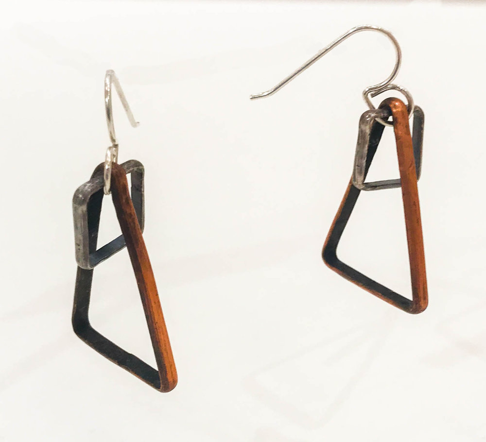 "Small sterling silver square within copper triangle earrings, 1 3/4"" x 1/2"" x 1"", $60"