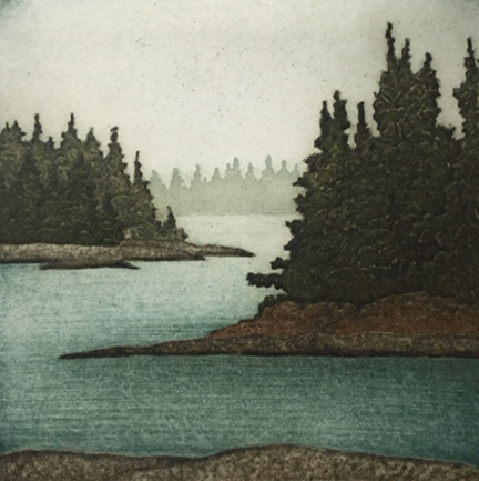 "Quiet Coves  (21/40), collagraph on paper, 12"" x 11 1/4"", $250"