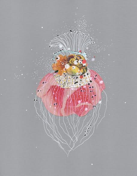 "Rose Anemone Jellyfish , pen, ink, pencil, and collage on paper, 11"" x 8 1/2"", $225"