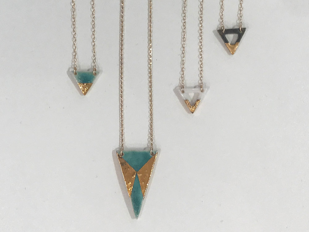 Assorted triangle pendant necklaces, glazed porcelain pendant with gold luster, 14K gold filled chain, $50-$60