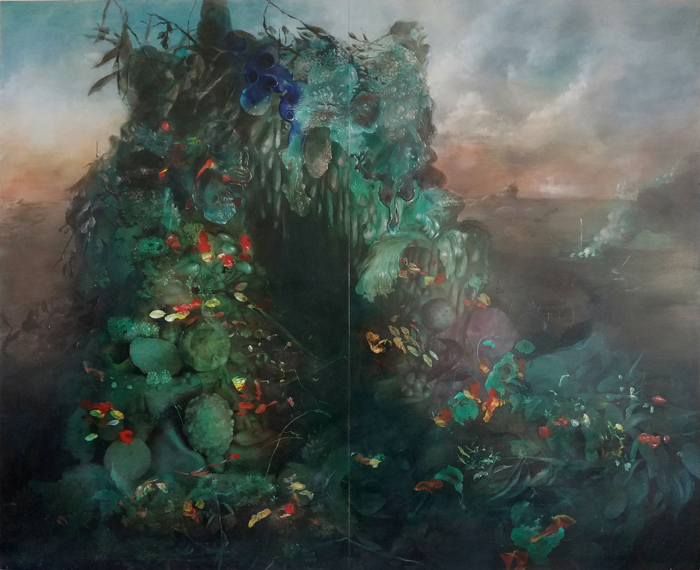 "Still Life with Nasturtium and Brush Fire , acrylic on panel, 36"" x 44"", $5,500"