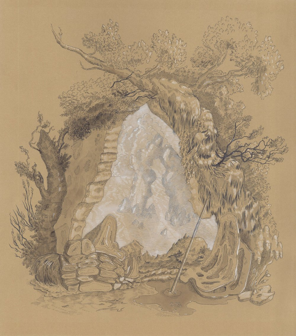 "Cartouche with Rock Formation , ink on paper, 17 1/2"" x 16 1/2"" framed, $750"