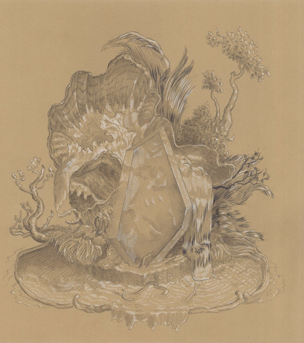 """Cartouche as Plexi Hunk in a Fountain , ink on paper, 17 1/2"""" x 16 1/2"""" framed, $750"""