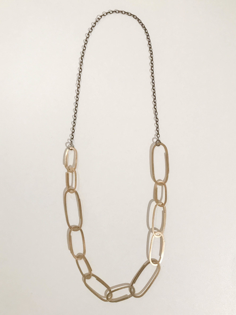 Brass clip link necklace, oxidized sterling silver and brass, $215