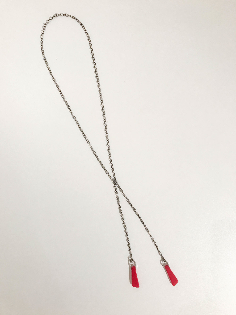 Lariat necklace, oxidized sterling silver with vintage bakelite, $170
