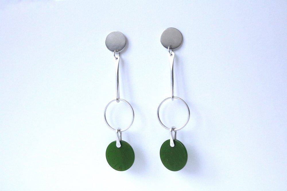 Circle triplet earrings, sterling silver and vintage bakelite, sold