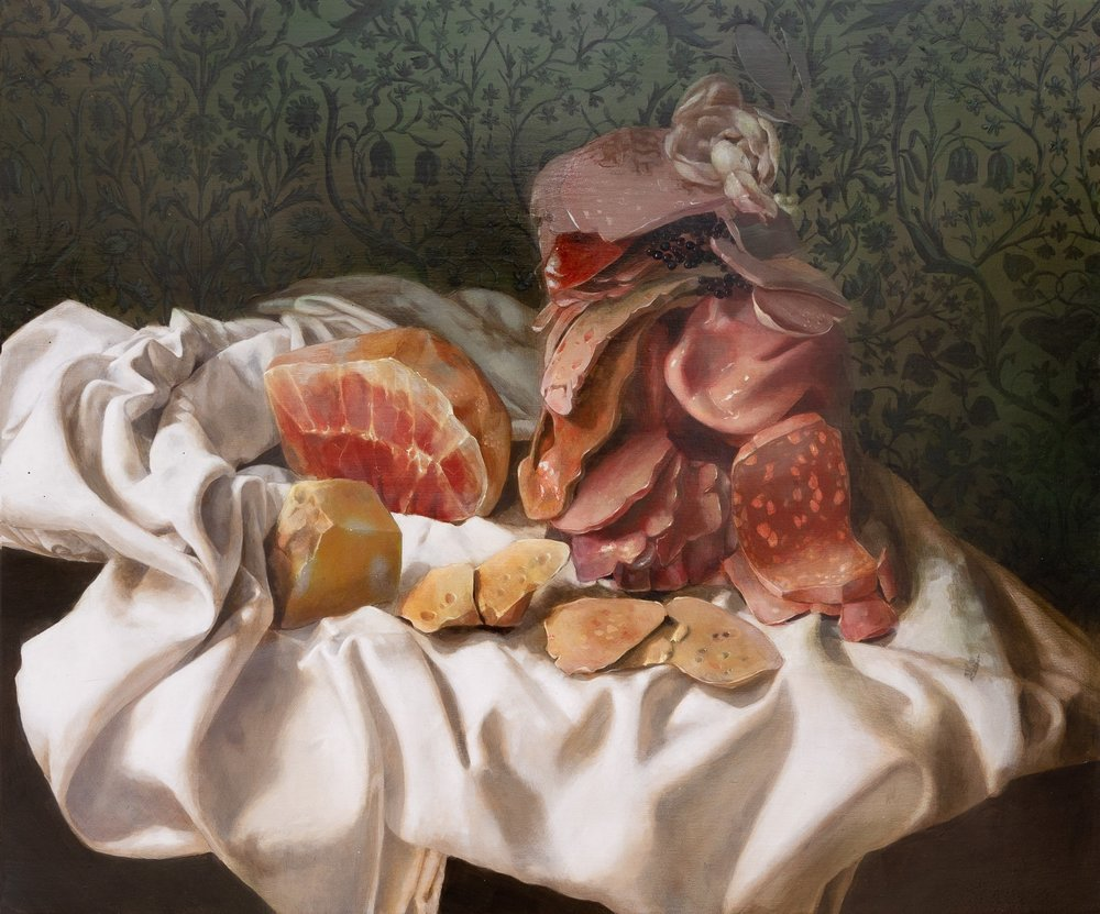 "Still Life with Meat Pile , acrylic on panel, 20"" x 24"", $2,400"